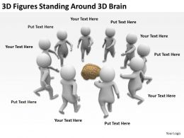 3D Figures Standing Around 3d Brain Ppt Graphics Icons
