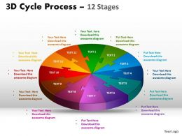3D Flow Chart diagram 12 Stages Style 3