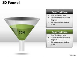 3D Funnel Diagram Representing 70 Percent