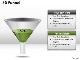 3D Funnel Diagram Representing Percentage