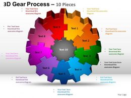 3D Gear Process 10 Pieces Style 2 Powerpoint Slides and ppt Templates 0412