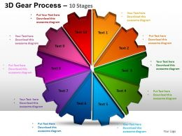3D Gear Process 10 Stages Style 1 Powerpoint Slides and ppt Templates 0412