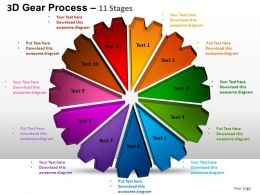 3D Gear Process 11 Stages Style 1 Powerpoint Slides and ppt Templates 0412