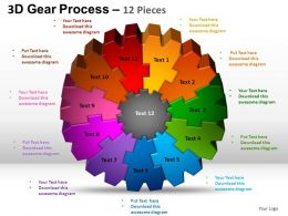 3D Gear Process 12 Pieces Style 2 Powerpoint Slides and ppt Templates 0412