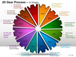 3D Gear Process 12 Stages Style 1 Powerpoint Slides and ppt Templates 0412