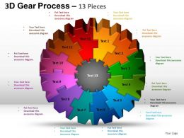 3D Gear Process 13 Pieces Style 2 Powerpoint Slides and ppt Templates 0412