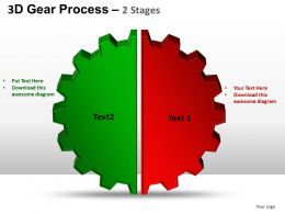 3D Gear Process 2 Stages Style 1 Powerpoint Slides and ppt Templates 0412