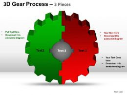 3D Gear Process 3 Pieces Style 2 Powerpoint Slides and ppt Templates 0412