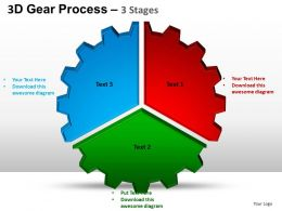 3D Gear Process 3 Stages Style 1 Powerpoint Slides and ppt Templates 0412