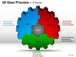 3D Gear Process 4 Pieces Style 2 Powerpoint Slides and ppt Templates 0412