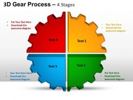 3D Gear Process 4 Stages Style 1 Powerpoint Slides and ppt Templates 0412
