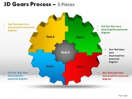 3D Gear Process 5 Pieces Powerpoint Slides