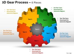 3D Gear Process 6 Pieces Style 2 Powerpoint Slides and ppt Templates 0412