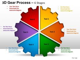 3D Gear Process 6 Stages Style 1 Powerpoint Slides and ppt Templates 0412