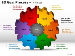 3D Gear Process 7 Pieces Style 2 Powerpoint Slides and ppt Templates 0412