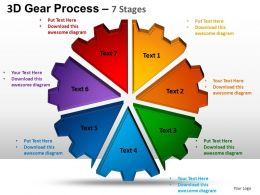 3D Gear Process 7 Stages Style 1 Powerpoint Slides and ppt Templates 0412