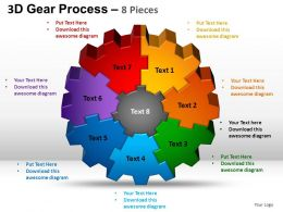 3D Gear Process 8 Pieces Style 2 Powerpoint Slides and ppt Templates 0412