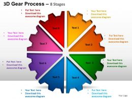 3D Gear Process 8 Stages Style 1 Powerpoint Slides and ppt Templates 0412