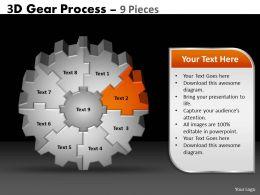 41128860 Style Variety 1 Gears 9 Piece Powerpoint Presentation Diagram Infographic Slide