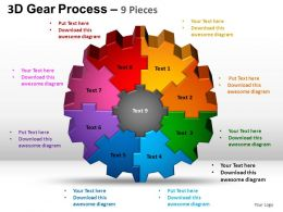 3D Gear Process 9 Pieces Style 2 Powerpoint Slides and ppt Templates 0412