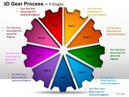 3D Gear Process 9 Stages Style 1 Powerpoint Slides and ppt Templates 0412