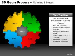 3D Gears Process Planning 5 Pieces Powerpoint Slides And Ppt Templates DB