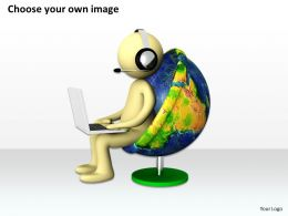 3D Global Manager Seated On A World Chair Ppt Graphics Icons Powerpoint