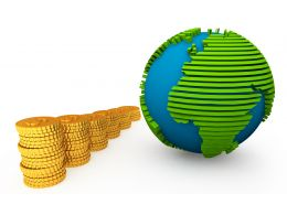 3D Globe And Gold Coins In Queue Stock Photo