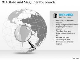 3d Globe And Magnifier For Search Ppt Presentation Slides