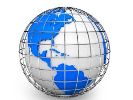 3D Globe Graphic With Metallic Cage Stock Photo
