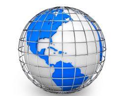 3D Globe Graphic With Metallic Cage Stock Photo