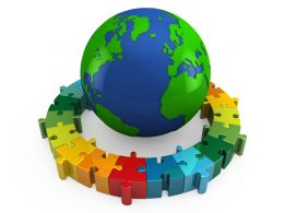 3D Globe Inside The Rounded Puzzle Business Stock Photo
