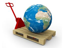 3d Globe On Hand Trolley Stock Photo