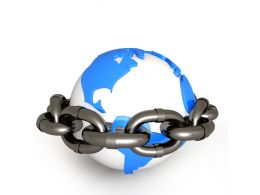 3D Globe Surrounded With Chain Stock Photo