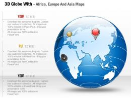 3d Globe With Africa Europe And Asia Maps Ppt Presentation Slides