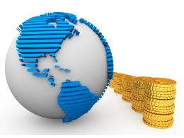 3D Globe With Gold Coins Stock Photo
