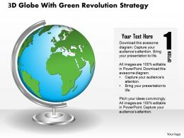 3D Globe With Green Revolution Strategy Ppt Presentation Slides
