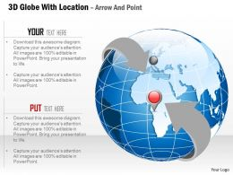 3d Globe With Location Arrow And Point Ppt Presentation Slides