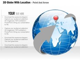 3D Globe With Location Point And Arrow Ppt Presentation Slides