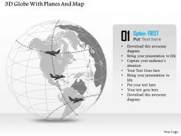 3D Globe With Planes And Map Ppt Presentation Slides