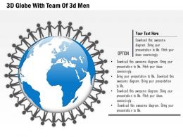 3D Globe With Team Of 3D Men Ppt Presentation Slides