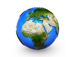 3D Globe With World Map Stock Photo