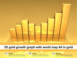3D Gold Growth Graph With World Map All In Gold