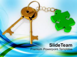 3d Golden Key With Puzzle Piece Powerpoint Templates Ppt Themes And Graphics 0213
