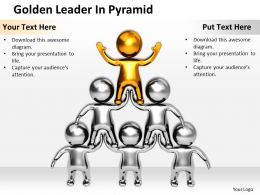 3d Golden Leader In Pyramid Ppt Graphics Icons