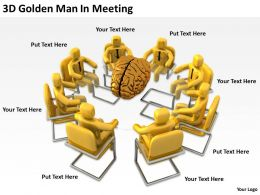 3D Golden Man In Meeting Ppt Graphics Icons Powerpoint