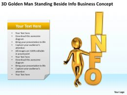 3D Golden Man Standing Beside Info Business Concept Ppt Graphics Icons Powerpoin