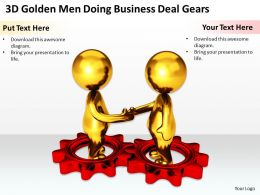 3D Golden Men Doing Business Deal Gears Ppt Graphics Icons Powerpoint