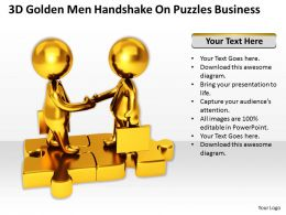 3D Golden Men Handshake On Puzzles Business Ppt Graphics Icons Powerpoint