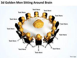 3D Golden Men Sitting Around Brain Ppt Graphics Icons Powerpoint